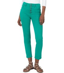 women's kut from the kloth reese exposed button high waist ankle straight leg jeans, size 6 - green