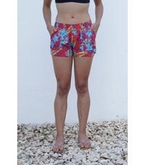 short playero rojo flores maui surf