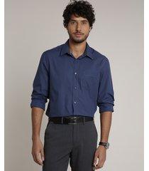 camisa masculina comfort com bolso manga longa azul marinho