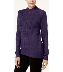 karen scott petite marled cable-knit sweater, created for macy's