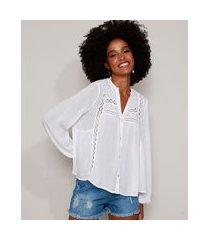 camisa feminina ampla com entremeio manga longa gola padre off white