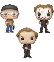 funko pop movies it chapter 2 collectors set 2 - shop ceeper, pennywise with partial make up, pennywise in pinstripe suit