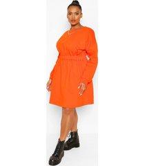 plus sweatshirt jurk met elastische taille, oranje