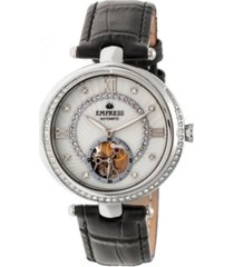 empress stella automatic white dial, black leather watch 39mm