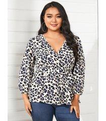 yoins plus talla abrigo de leopardo con cuello en v diseño 3/4 longitud blusa con mangas