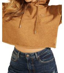 guess cropped mini triangle logo fleece hoodie
