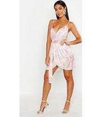 paisley slinky wrap front tie mini dress, coral