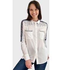 blusa desigual ml blanco - calce regular