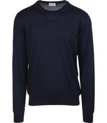 fedeli man round neck pullover in dark blue cashmere and silk