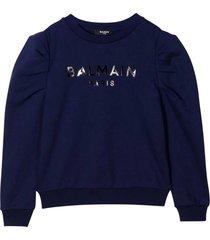 balmain blu sweatshirt