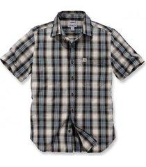 carhartt blouse men s/s essential open collar shirt plaid steel blue-m