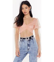 womens extreme behavior puff sleeve cropped top - peach