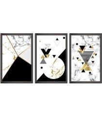 conjunto kit 3 quadro oppen house s 60x120cm escandinavo forset com vidro e moldura preta      quadro oppen house s decorativos - preto - dafiti