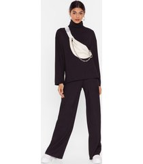 womens one heck of a night top and wide-leg pants set - black