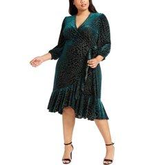 calvin klein plus size burnout velvet wrap dress