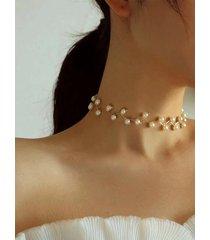 gargantilla de cadena de clavícula perla collar de múltiples capas
