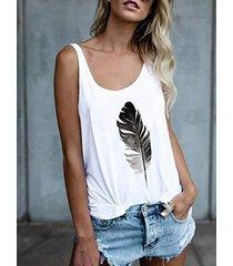 camiseta sin mangas redonda con estampado de plumas cuello