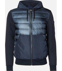 mackage men's will hooded bomber jacket - navy - xxl