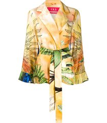 f.r.s for restless sleepers jungle-print silk jacket - neutrals