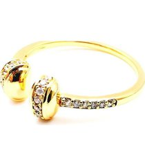 anillo micropave mnk baño oro cristal blanco sara k