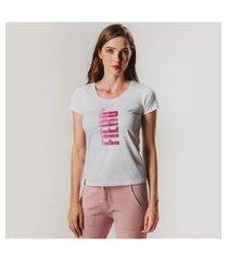 camiseta feminina babylook manga curta degradê fiero