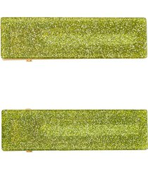 valet studio clementine set of 2 glittered hair clips - green