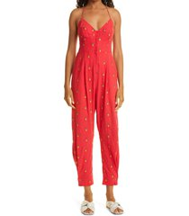 farm rio embroidered pineapples linen blend jumpsuit, size small at nordstrom