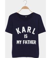 camiseta azul marino estampada de karl is my father