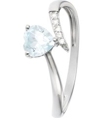 anello in oro bianco, topazio e zirconi per donna