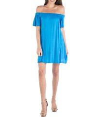 24seven comfort apparel off shoulder a-line loose fit mini dress