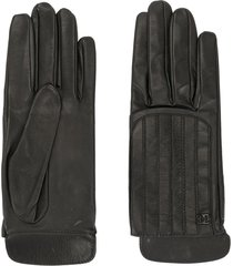 chanel pre-owned quilted leather gloves - black