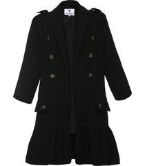 płaszcz z falbaną czarny ii