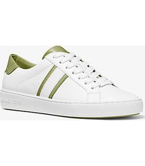 mk sneaker irving in pelle con righe bicolore - light sage - michael kors