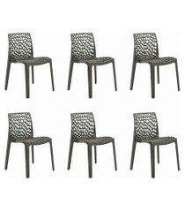 conjunto 06 cadeiras gruv marrom rivatti