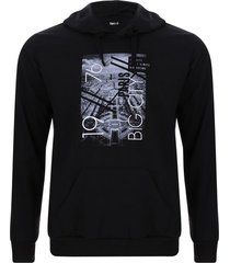 buzo capota hombre big city color negro, talla l