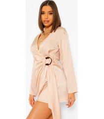 satijnen blouse stijl wikkel jurk, champagne