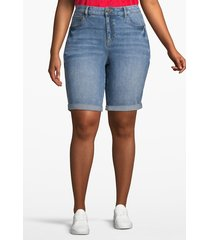 lane bryant women's venezia denim bermuda short - embroidered seam 18 dark wash