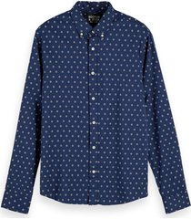 scotch & soda shirt with mini all-over dots blauw