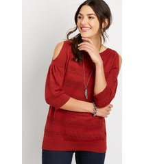 maurices womens cold shoulder puff sleeve pullover red