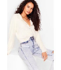 womens the soft parade fluffy knit button-down cardigan - cream