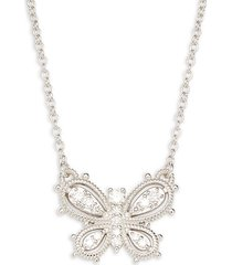 little luxuries sterling silver & diamond butterfly necklace