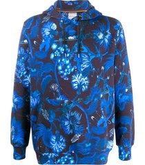 paul smith floral print hoodie - blue