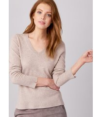 basic pullover met v-hals gemaakt van zijde en cashmere