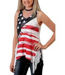 camiseta sin mangas con detalles de borlas con estampado de estrellas y rayas rojas