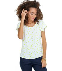 blusa escote redondo con diseño en mangas verde lima unipunto 32320