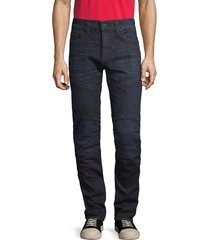 true religion men's rocco moto relaxed skinny jeans - dark wash - size 36