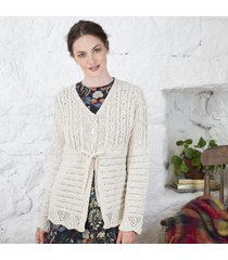 irish aran cardigan with tie string cream xl