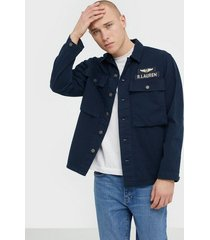polo ralph lauren long sleeve herringbone sport shirt jackor navy/multi