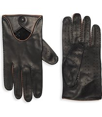 contrast-trim leather gloves