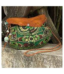 leather accent embroidered shoulder bag, 'green mandarin smile' (thailand)